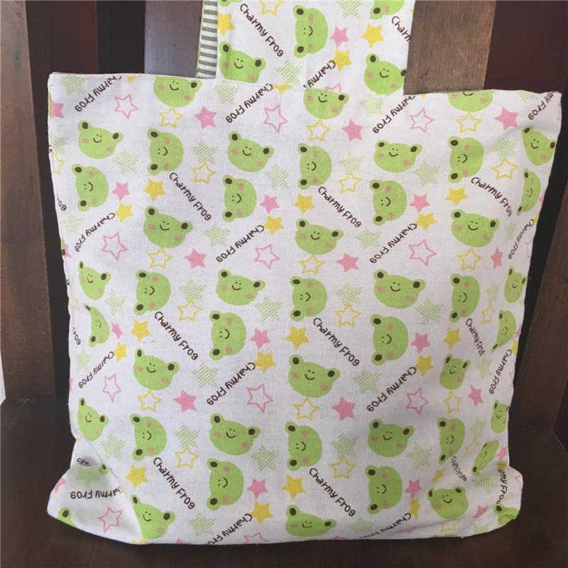 Bolso de compras reutilizable ecológico de lino de algodón de 2 caras hecho a mano YILE, bolso de muñeca con rayas verdes y Rana Verde
