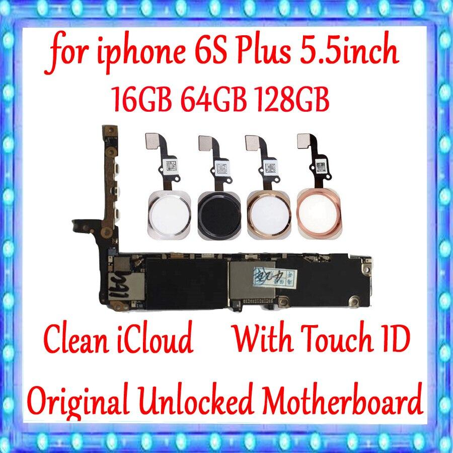 100% Original desbloqueado para iPhone 6S Plus Placa base con/sin Touch ID para iphone 6SP 6S Plus placa lógica gb 16gb 64gb 128g