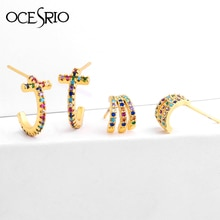 Rainbow CZ Circle Paw Stud Earrings Woman Cheap Gold Zirconia Cross Earring Small Aretes De Moda Huggie Jewellery ers-q23
