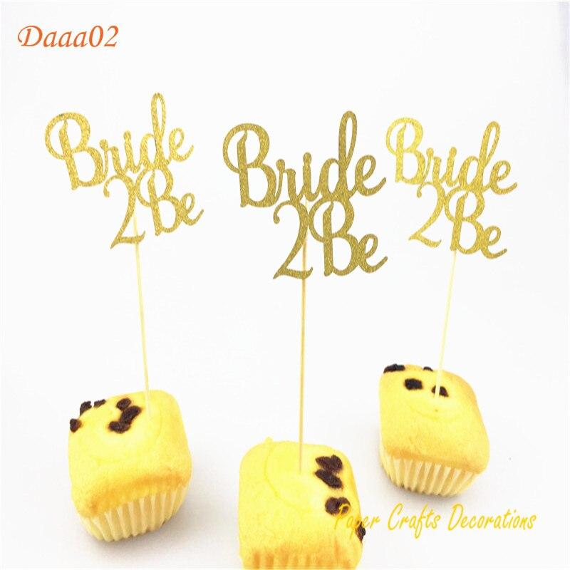 8 unids/pack oro brillo novia 2 Be Cupcake Topper nupcial ducha decoración boda pastel Topper Engagedment fiesta decoraciones