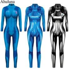 Galaxie guerrier Samus zéro Aran Cosplay Costume pour femmes adulte 3D impression Spandex Polyester Zentai justaucorps Halloween Costumes C130