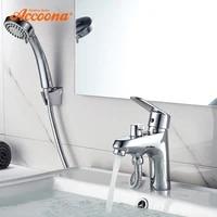 Accoona robinet de lavabo de salle de bains chrome robinet a poignee unique robinet devier avec pomme de douche robinets deau chaude et froide A9369