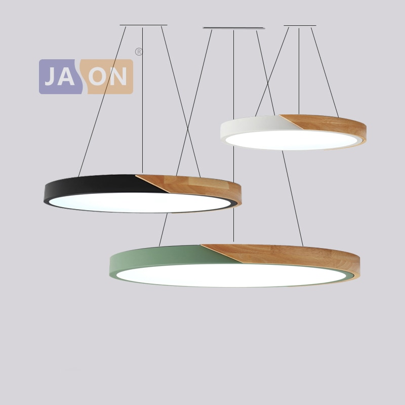 LED الحديثة الحديد الخشب الاكريليك 5 سنتيمتر جولة 23-60 سنتيمتر عكس الضوء الثريا الإضاءة تعليق الإنارة امبين بريقا لغرفة الطعام