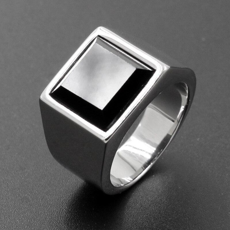 El anillo de acero inoxidable brillante de la joyería de la manera anillo cuadrado de los hombres barrena anillo de acero de titanio vende como pasteles calientes