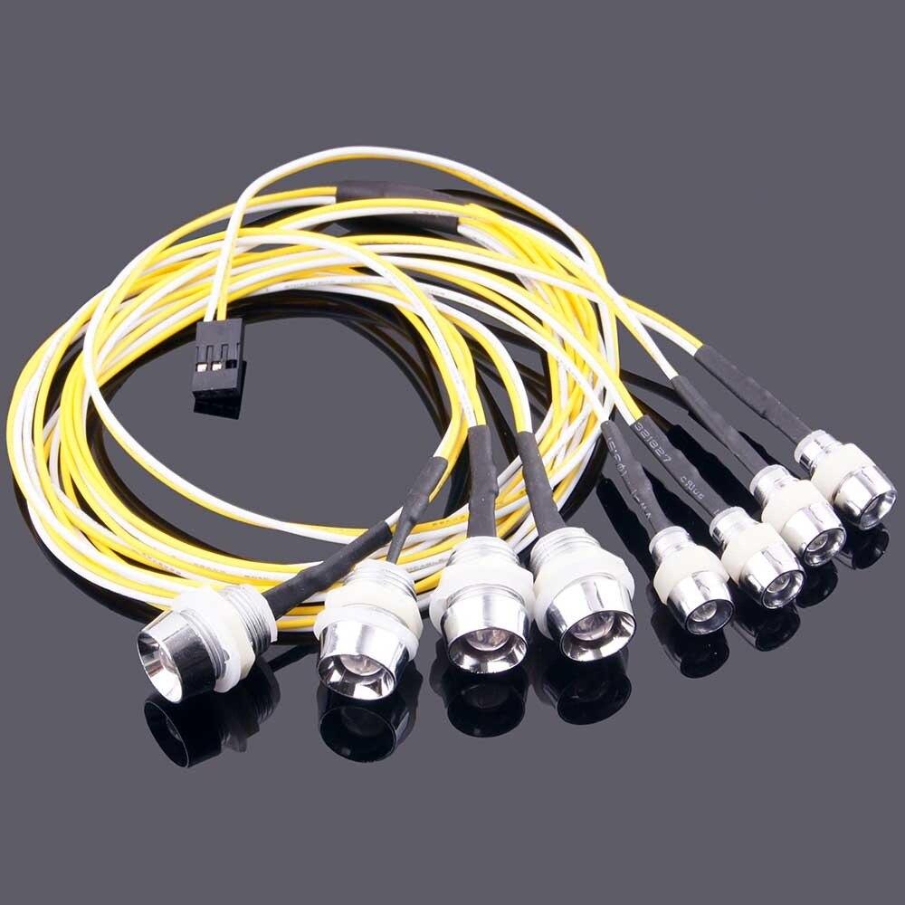 Набор светодиодных ламп Ewellsold, 8 шт., Аксессуары для автомобилей с дистанционным управлением, наборы светодиодных ламп для автомобиля 1 /10/1/8/1/5 с дистанционным управлением