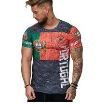 2019 neue Sommer Portugal T shirts Für Männer Mode Courntry 3D Muster Gedruckt Top Tees Hip Hop Biker Streetwear Männlichen kleidung