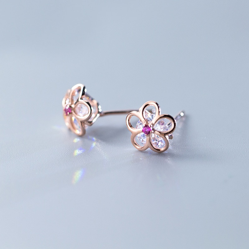 MloveAcc 925 boucles doreilles en argent Sterling primevère fleur avec zircon cubique pour les femmes de mariage bijoux fins