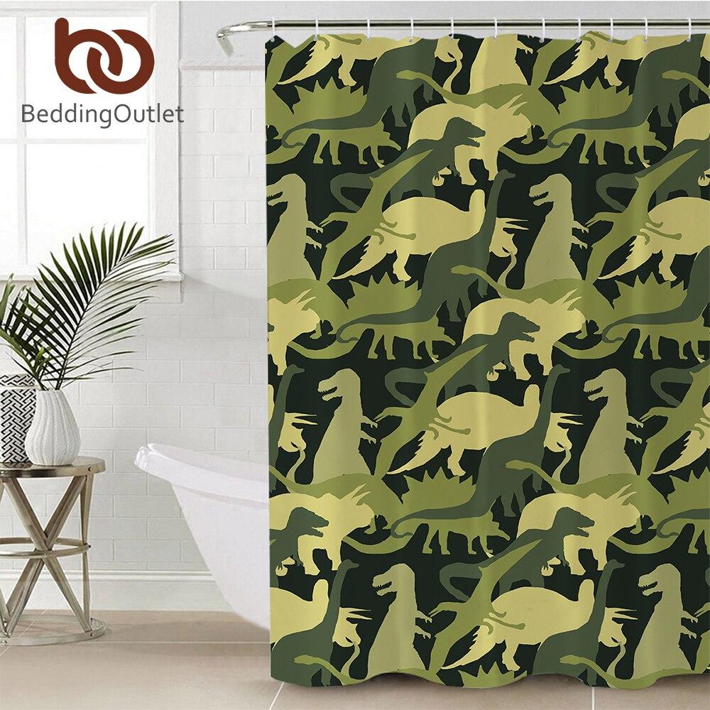 Cortina de ducha de baño BeddingOutlet de dibujos animados de dinosaurio, cortina de baño impermeable de poliéster de camuflaje con ganchos, cortina de ducha