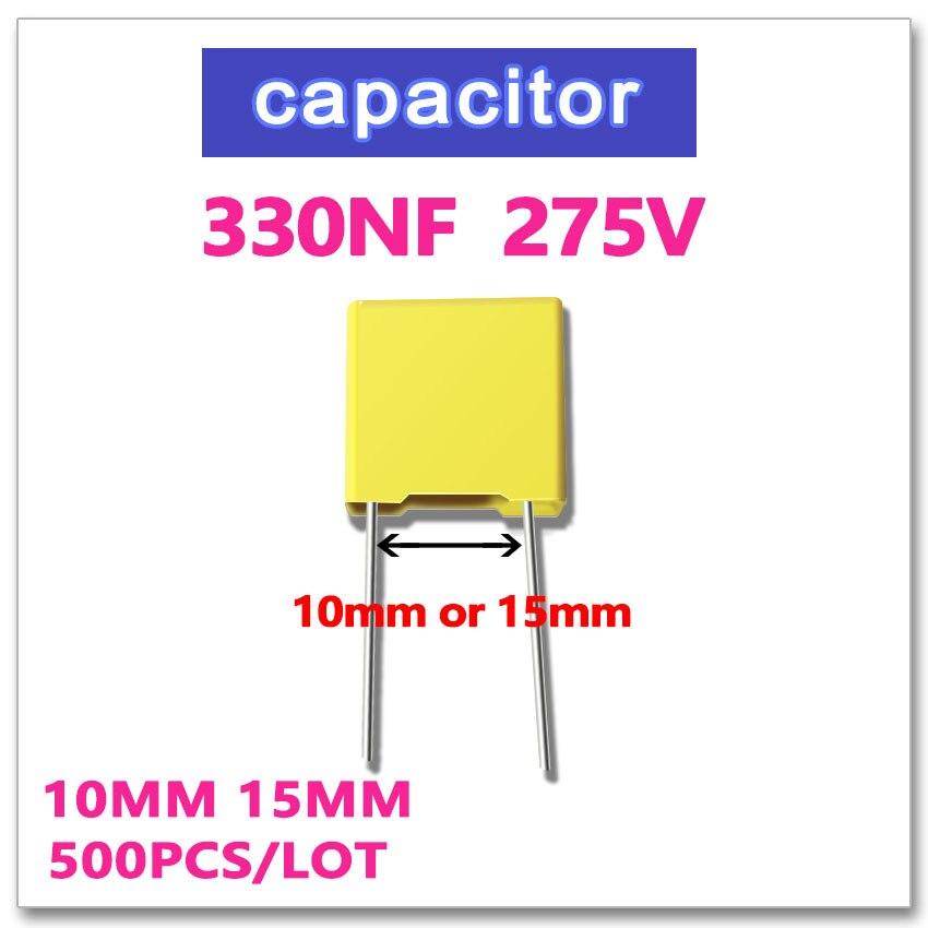 JASNPROSMA 330NF 500PCS safety Capacitor X2 275VAC Pitch 10mm 15mm 0.33UF 334 10% K 275V 334K