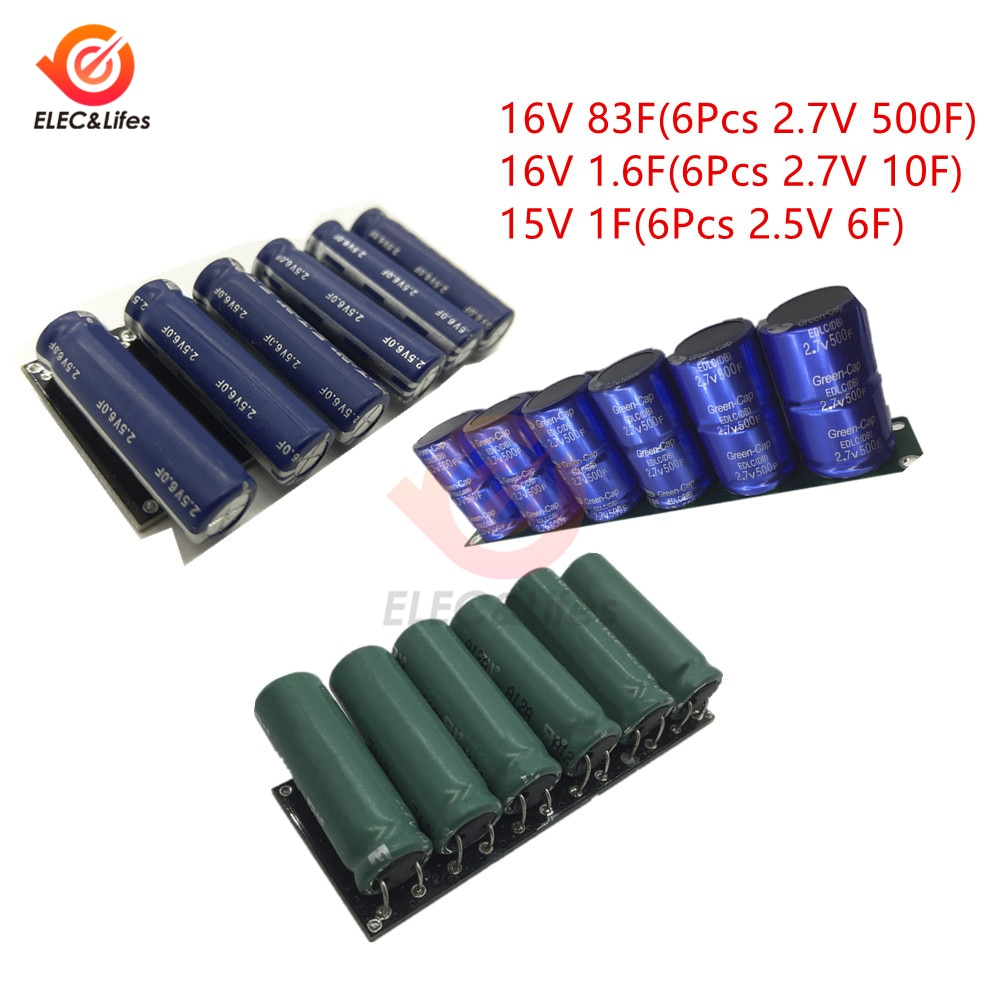 6Pcs 2.7V 500F 10F Supercapacitor Kit 16V 83F / 16V 1.6F Super Farad Capacitors Automotive rectifier ultracapacitor Protection
