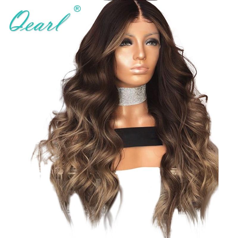 Pelucas de encaje frontal de pelo humano, pelucas de encaje con capas de Color ondulado brasileño Remy para mujeres negras, 13x4, qpearl Pre desplumado