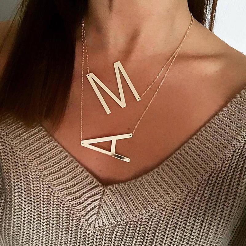 Nouveau minimaliste or Rose or argent couleur 26 A-Z lettre nom initiale colliers pour femmes longue grande lettre pendentif collier