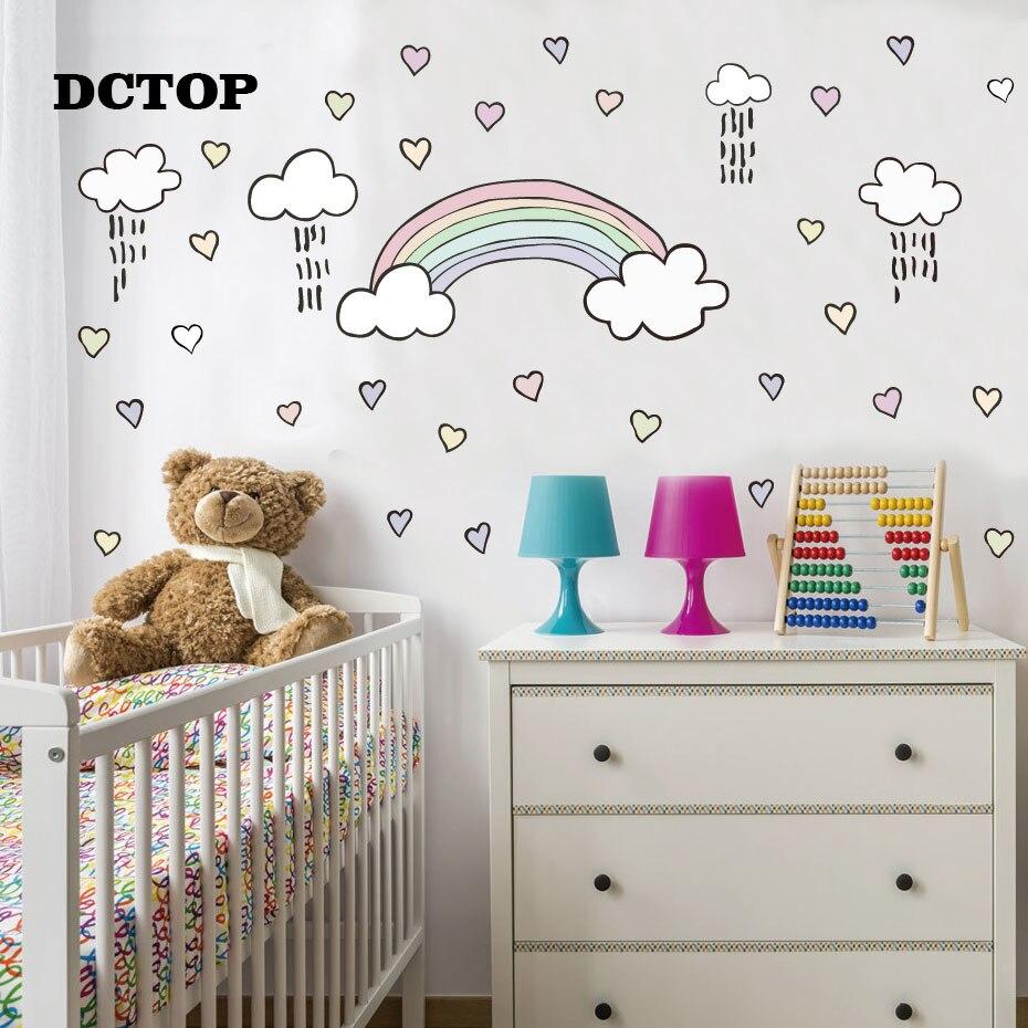 DIY pegatinas de pared de dibujos animados de arco iris Estilo nórdico calcomanías extraíbles para bebé niña decoración de pared de habitación sala de estar dormitorio murales
