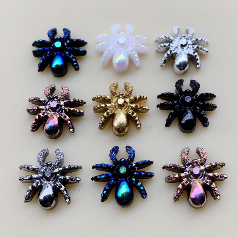 60pcs Animal Art Designs Spider Jewelry Charms DIY Halloween Decorations Accessories 13mm-B58