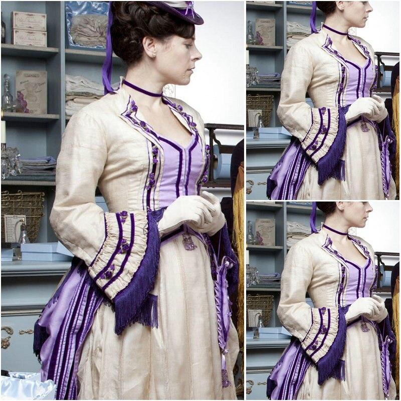 Na venda! 19 Century BBC O Paraíso Das Mulheres Do Vintage vestidos de Trajes Vestido Lolita Vestido Vitoriano Guerra Civil NOS 4-36 C-181