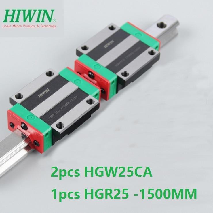 1 قطعة 100% الأصلي Hiwin الخطي دليل السكك الحديدية HGR25 -L 1500 مللي متر + 2 قطعة HGW25CA HGW25CC شفة كتلة النقل ل cnc