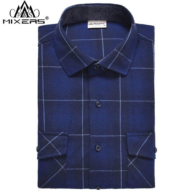 Camisas de franela a la moda para hombre de manga larga ajustadas con dos bolsillos de pecho gruesos Camisa de franela informal para hombre