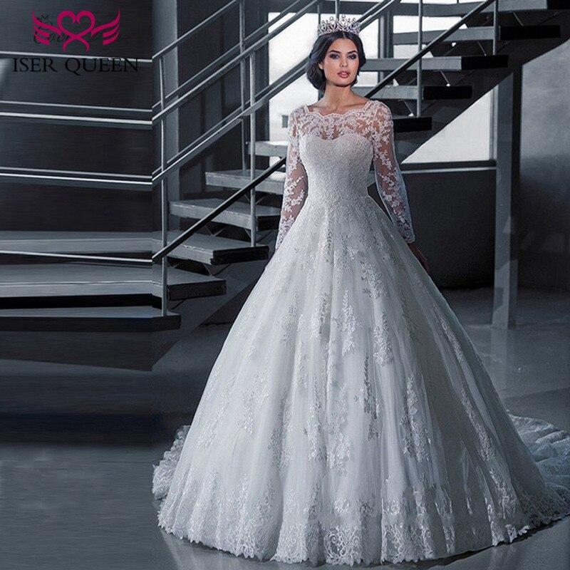 Vestidos de noiva tamanho grande, vestido de casamento de mangas compridas com apliques de renda gola pura vestido de baile para princesa w0030