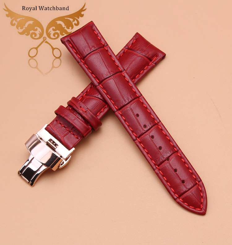 14mm 16mm 18mm 20mm 22mm Rosa mariposa de oro hebilla rojo cuero genuino reloj pulsera correa para hombres señoras