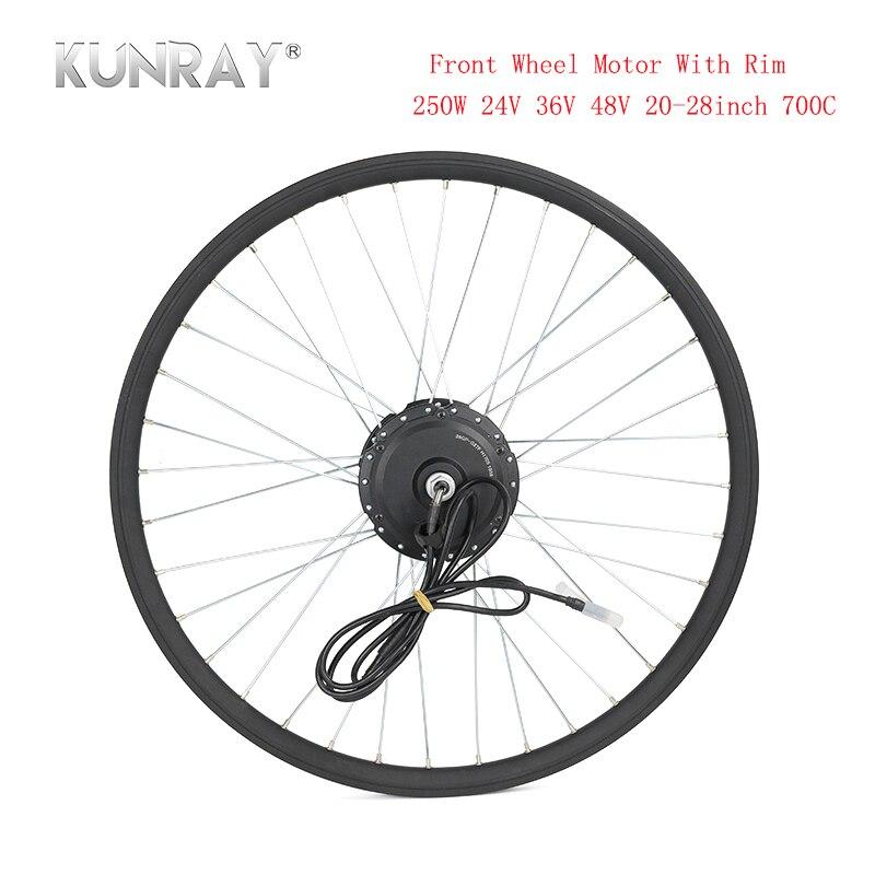 """Electric Bicycle Conversion Kit 24V 36V 48V 250W Spoke Hub Motor For 16"""" 20"""" 24"""" 26"""" 28"""" Bicicleta E bike Front Wheel Motors Rim"""