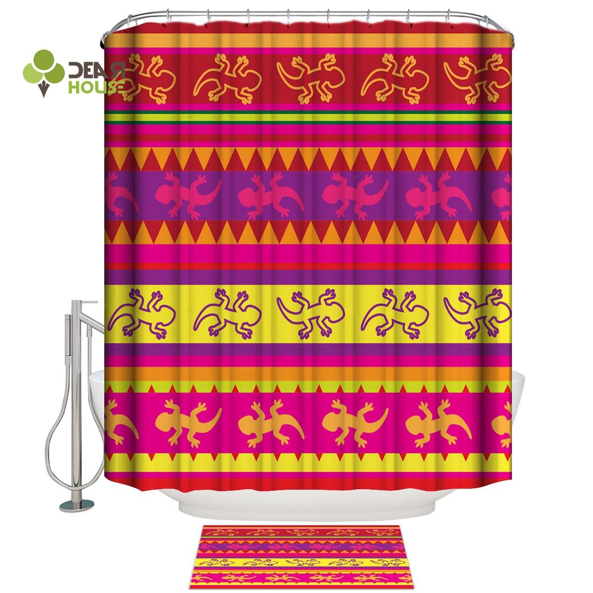 Dearhouse lagarto mexicano de ducha de tela, cortina de baño conjuntos con alfombras 2 Set de baño completo Cortina de ducha conjuntos conjunto de decoración para el baño