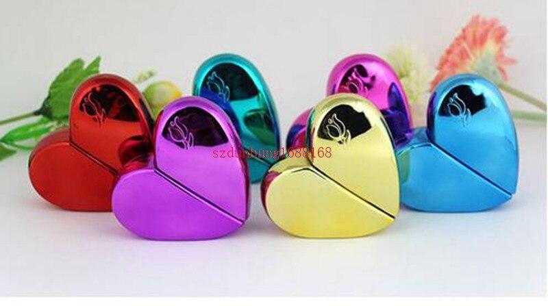 Botella de Perfume de 25 ML, Vidrio colorido en forma de corazón con tapa de plástico botella de embalaje de Perfume en aerosol vacía, 200 unids/lote