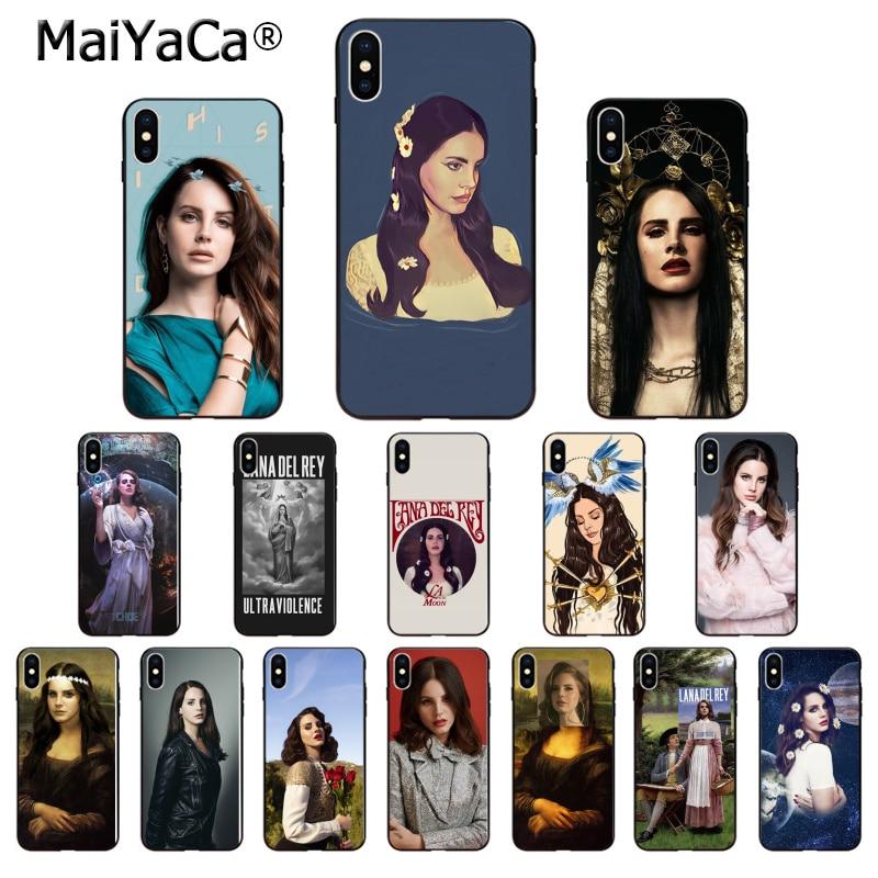 Maiyaca cantora lana del rey silicone tpu macio preto caso de telefone para apple iphone 8 7 6 s plus x xs max 5 5S se xr celulares