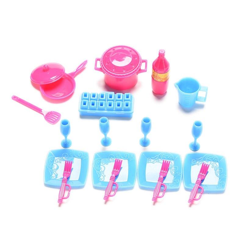 18 pçs/set mini plástico simulação utensílios de cozinha panelas e panelas pratos talheres para boneca cor aleatória