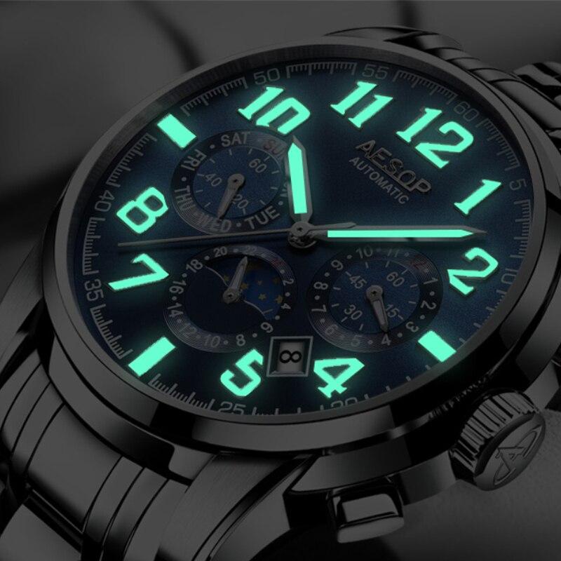 ¡Novedad de 2019! Relojes mecánicos automáticos AESOP de lujo para hombre, reloj Masculino de acero inoxidable resistente al agua para negocios