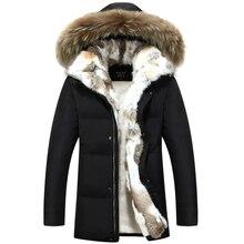 2018 hiver hommes duvet de canard vestes manteaux réel lapin fourrure hommes femmes amoureux de la mode épais chaud Parka hommes jaqueta masculina S-5XL