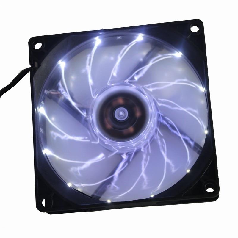 1 unidad Gdstime ventilador LED 92mm x 25mm 90mm caja de la computadora DC ventilador de refrigeración 12V 3 pines luz LED blanca con 12 luces 9225
