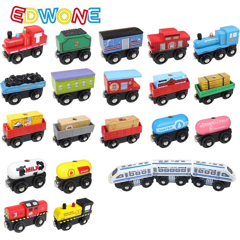 Edwone novo 22 projetos de madeira trens magnéticos carro locomotiva brinquedo mini concurso caber biro thomas faixas modelo educacional diy