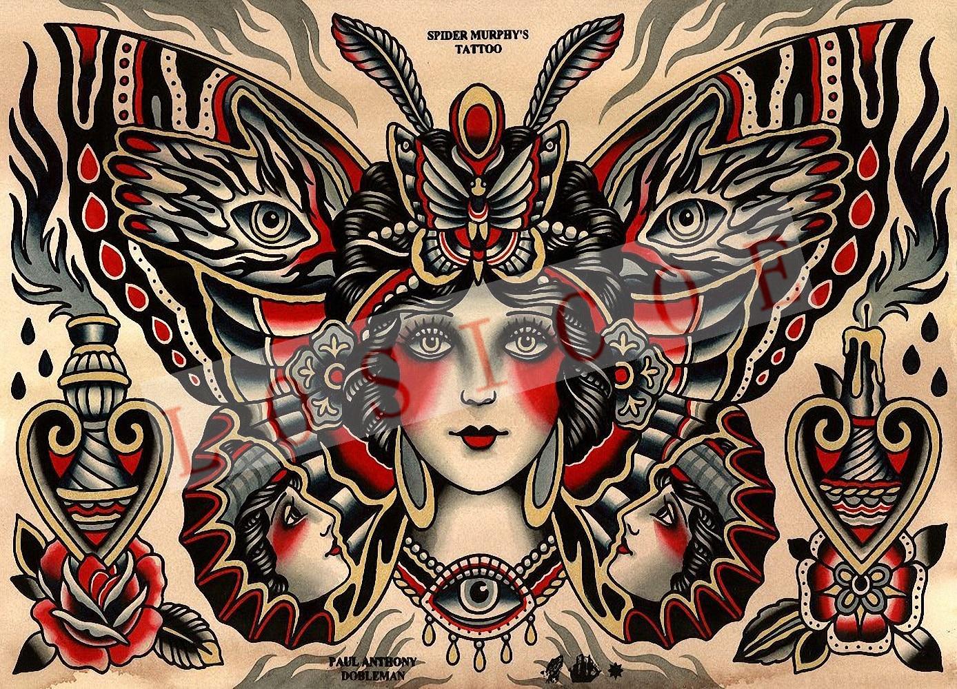 High quality creative tattoo pattern posters wall sticker 30X42 CM nostalgia retro kraft paper Inkjet printing art Decoration