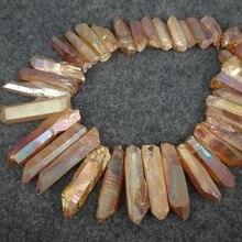 45 pièces/brin de cristaux bruts en vrac, Orange AB mystique titane Quartz Top percé cristal bâton perles pendentifs 8-10x22-40mm
