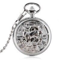 יוקרה חלול אוטומטי עצמי רוח נחושת Kylin עיצוב כיס שעון אוטומטי Fob מכאני שעונים גברים עבור שעון מתנות Relogio