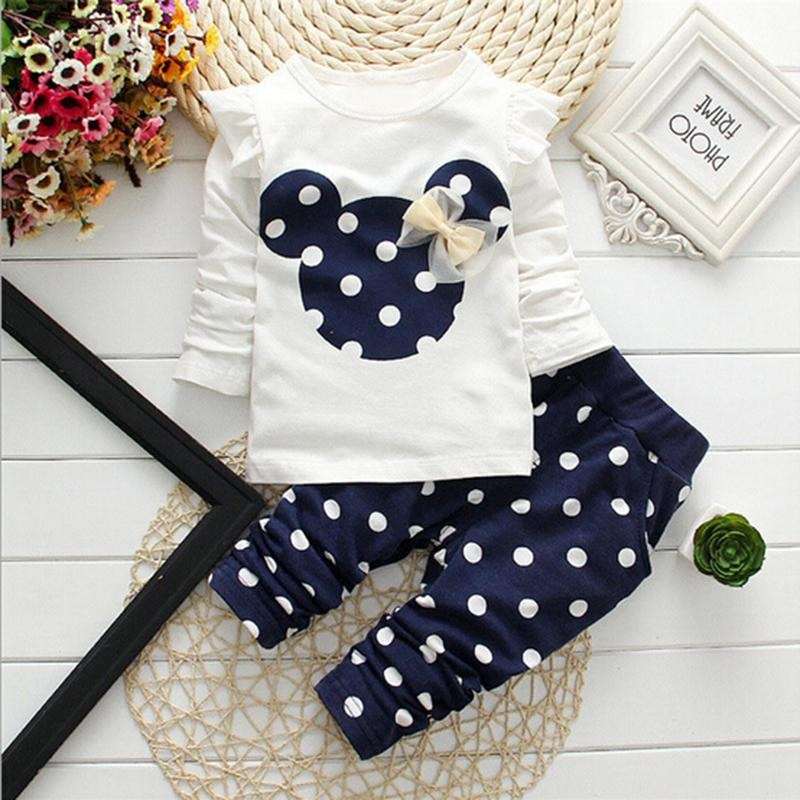 2018 new spring children girls clothing sets mouse early autumn clothes bow tops t shirt leggings pants baby kids 2 pcs suit Winter Girls Clothing Clothes Bow Tops T Shirt+pants 2 pcs Kids Clothes Baby Girl Infant Clothing Kids Jogging Suits