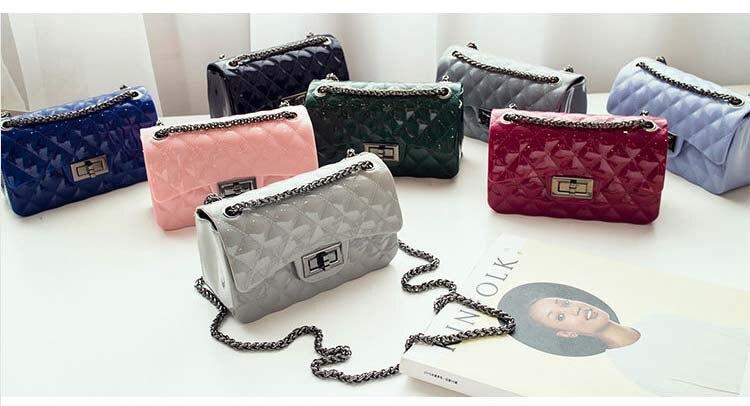 Candy Color Handbag Women Lingge Small Women Messenger Bag Female  Shoulder Bag Mini Silicone Jelly Chain  Bags
