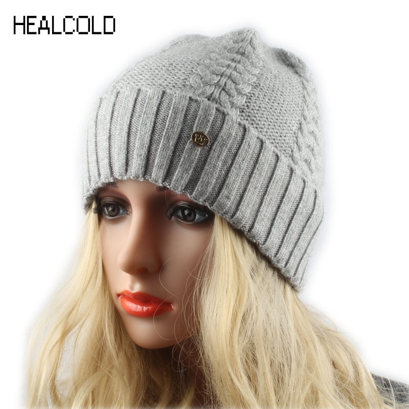 2019 marke Frauen Winter Hut Twist Gestrickte Kaschmir Wolle Beanie Hut Casual Warme Skullies Caps