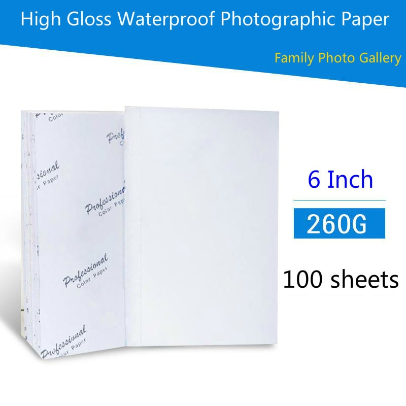 260G 6inch Photo Paper 4R 100 Sheets High premium Glossy Printer Photographic Paper Printing for Inkjet Printers Office Supplies 2021 hot sale 100 sheets glossy 4r 4x6 photo paper 200gsm high quality for inkjet printers