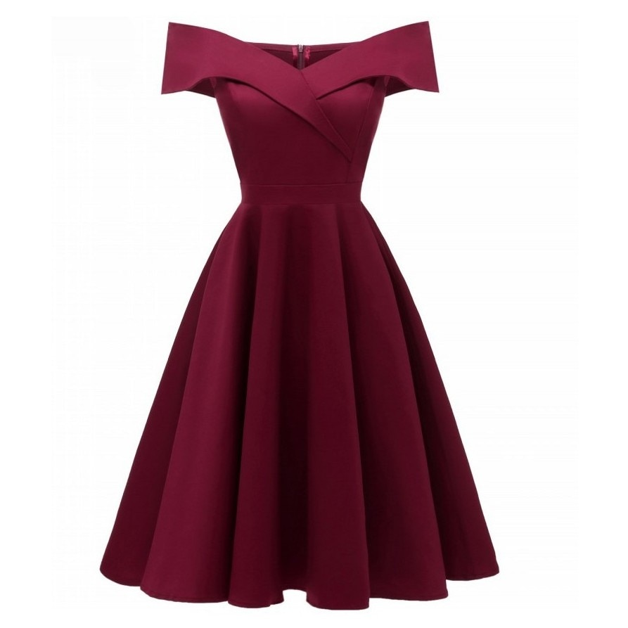 2019 Women Summer Dresses Off Shoulder V-Neck Retro Vintage 50s 60s Elegant Dress Sexy Rockabilly Party Dress Midi Vestidos