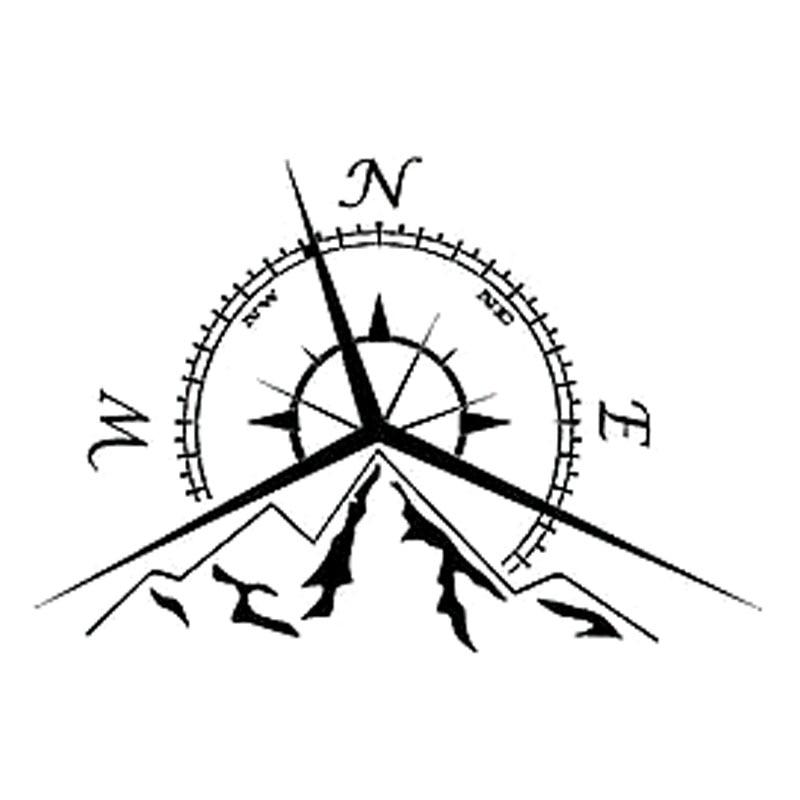 13,7 cm * 9,4 cm Auto Zubehör NSWE Mode Berge Kompass Rose Auto Aufkleber Aufkleber Nautischen Kompass Durchsuchen S6-3534