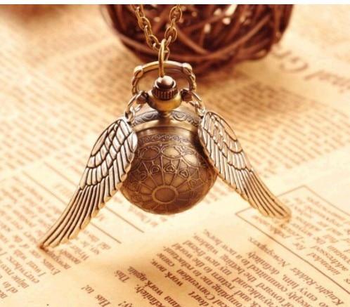 Envío Directo elegante reloj de bolsillo Harry Golden Ball Potter Wings reloj de cuarzo con collar Cadena de Jersey relojes regalo