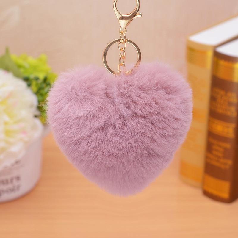 De forma de corazón de amor anillo Roamntic suave lindo Pom colgante teléfonos coche bolsa encanto, llavero de etiqueta