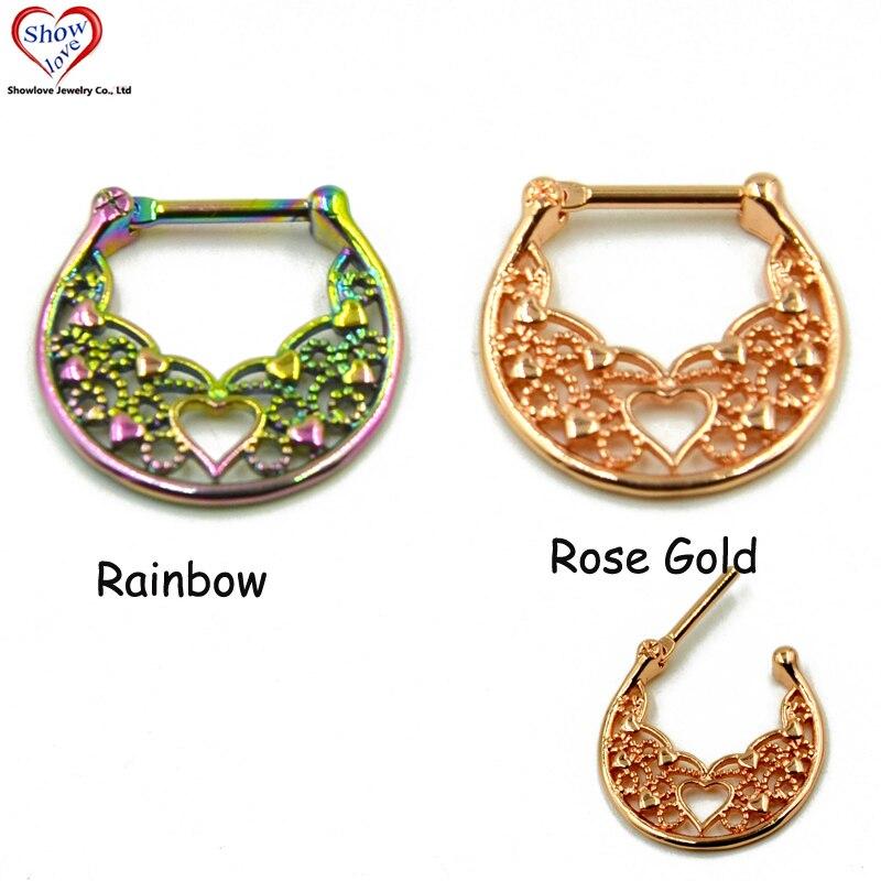 Showlove arco-íris & rosa ouro titânio anodizado septo clicker piercing cartilagem nariz anel argola jóias