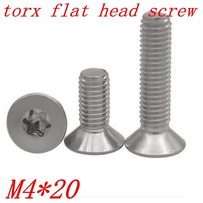 M4 * 20 m4x20 torx, tornillo de cabeza avellanada plana de acero inoxidable a2, 100 unidades