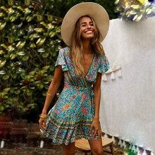 KIYUMI Dress Women Boho Big swing Splicing Cotton Dress 2019 Short Sleeve V-neck Beach Holiday Empire Floral Print Short Dresses
