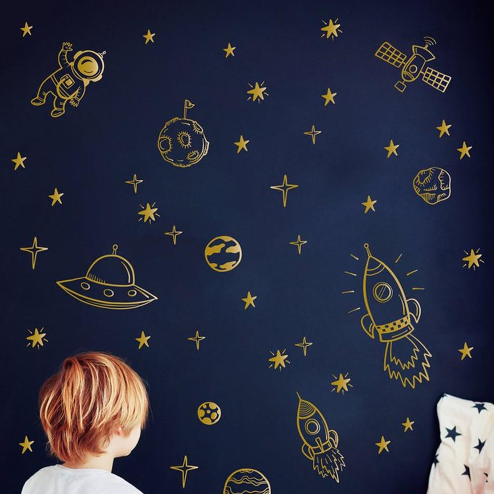 Space Rocket Astronaut Star Wall Sticker Boy Room Kids Room Satellite Space Earth Wall Decal Nursery Bedroom Vinyl Home Decor