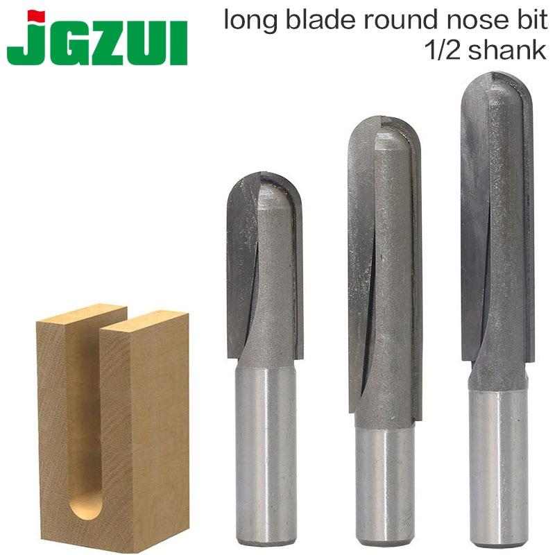 1 pc 1/2 shank cnc carboneto end mill ferramenta longa lâmina redonda nariz bit núcleo caixa roteador bit-longo alcance