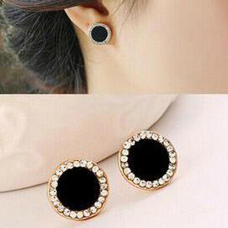 2018 Hot Lady Black Shell Round Crystal Earrings Girl Women Fashion Classic Jewelry Brincos Low Pric
