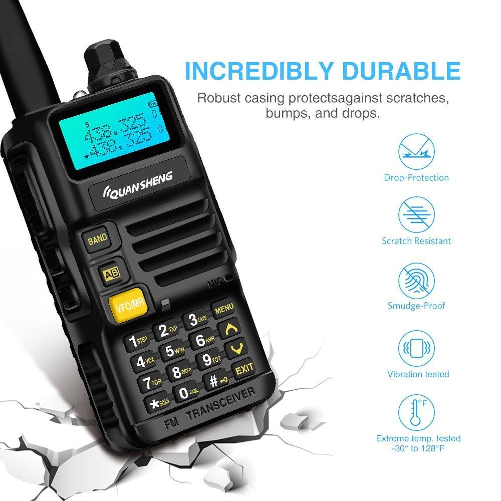 Walkie Talkie UV-R50 Quansheng VHF UHF banda Dual de largo alcance UVR50 Ham Radio de mano de 2 vías UV R50 uv-5r 5W transceptor haltin